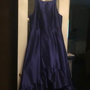 Royal Blue Hi-Low Faille Gown.